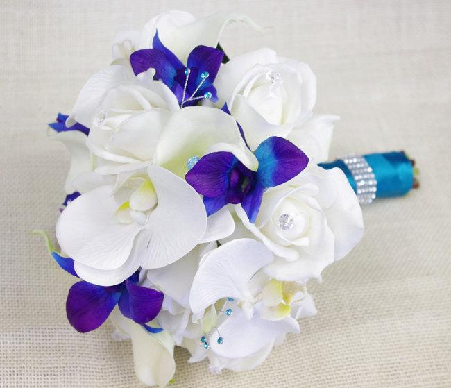 Mariage - Silk Wedding Bouquet with Off White Roses, Blue Purple and White Orchids, and Callas - Natural Touch Silk Flower Bouquet - Teal Turquoise