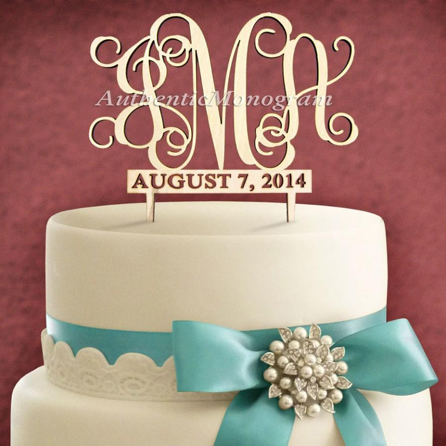 """Mariage - 6"""" Wooden Unpainted Cake Topper with 2 Custom MONOGRAMS  3 Letter Monogram & Date to REMEMBER, Wedding, Initial, Celebration, Special (4114"""