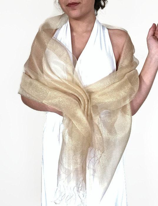 gold wedding silk shawl yellow bridal shawl gold pashmina bridesmaid transparent shawl chiffon scarfsheeny scarf evening wrap elegant
