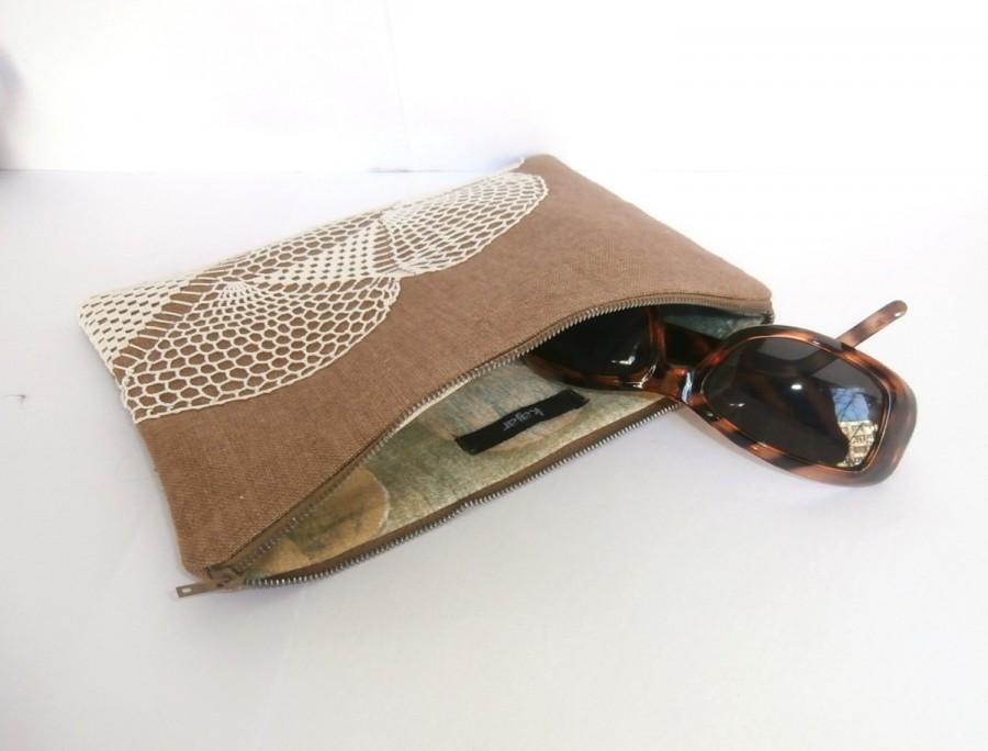 Mariage - Wet sand beige (bronze) linen & vintage doily zipper clutch, bridesmaids gift bag, rustic wedding, hippie beach wedding, cosmetic pouch