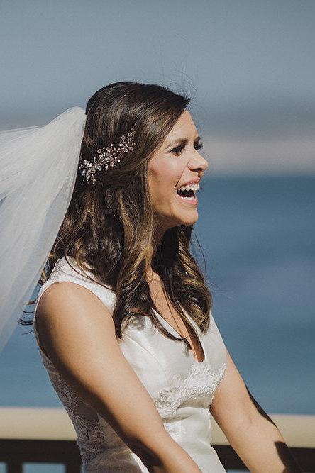 زفاف - Wedding Hair Vine with Rhinestones, Bridal Headband Comb Headpiece