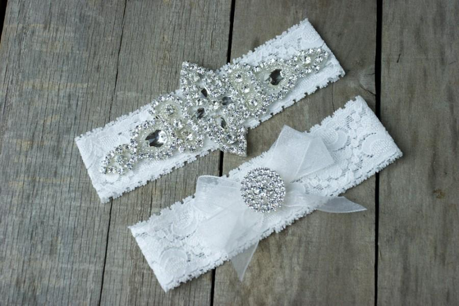 Mariage - Wedding Garter Elegant Rhinestone Garter Set  Bridal Garter Set  Custom Fit