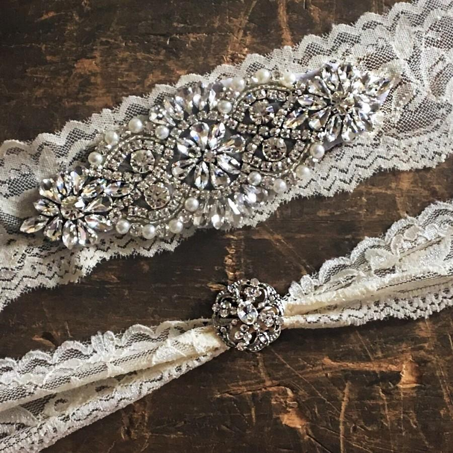 زفاف - Ivory Wedding Garter Set NO SLIP grip vintage rhinestones