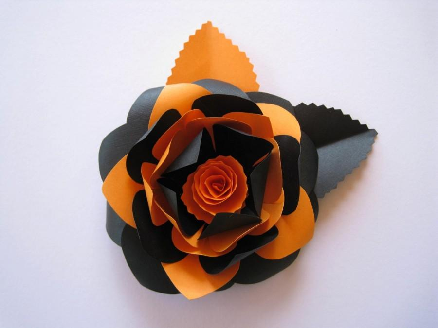 black and orange paper flower halloween flowers halloween decorations orange paper decoration paper wedding decor handcrafted gift - Paper Halloween Decorations