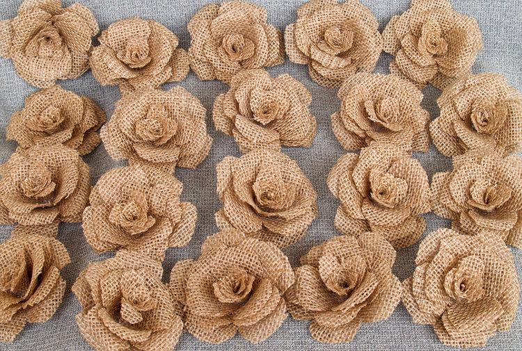 Mariage - 20 Burlap Flowers - Rustic Wedding Decoration, Craft Projects, Card Making, Home and Special Occasion Decoration