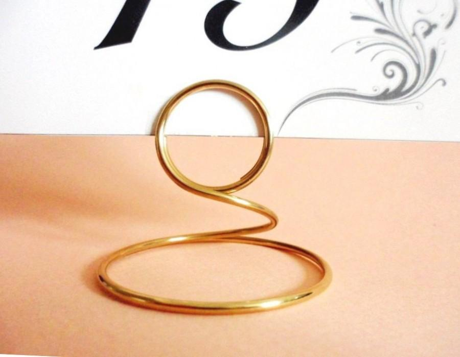 Mariage - 12 Place Card Holders, Solid Gold Brass, for cards, photos, menu