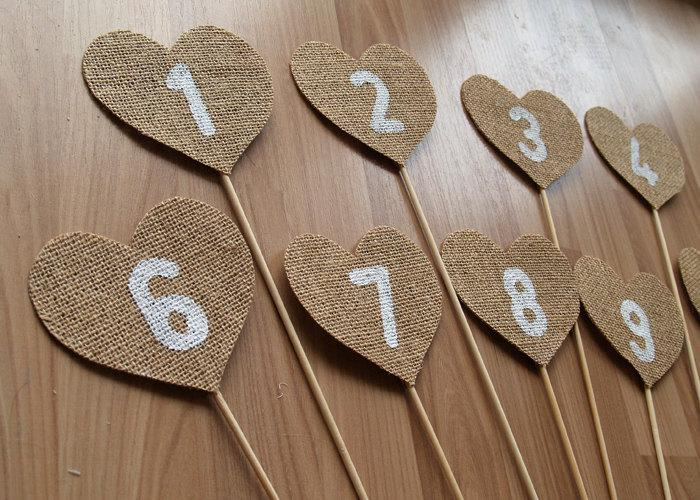 زفاف - Burlap Table Numbers,rustic wedding table numbers, shabby chic table numbers, burlap wedding reception table decor.
