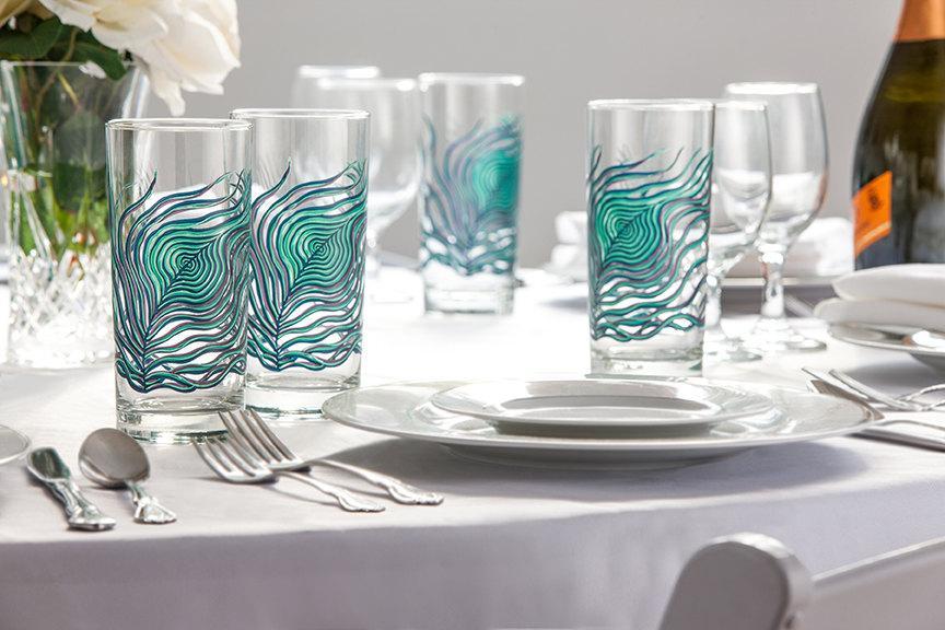 زفاف - Peacock Feather Glasses - 4 Everyday Water Glasses - Peacock Feathers, Peacock Wedding Glasses, Peacock Feather Glass, Peacock Wedding Glass