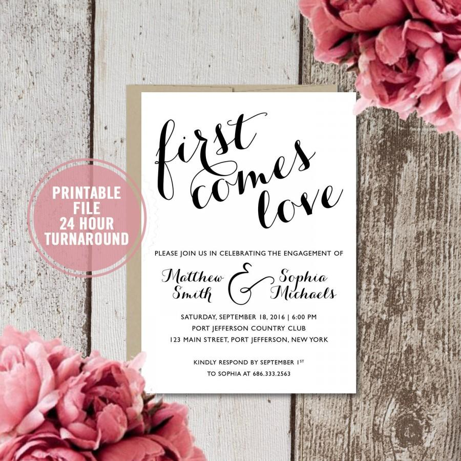 Rustic Engagement Invitation Printable, Engagement Party Invitation ...