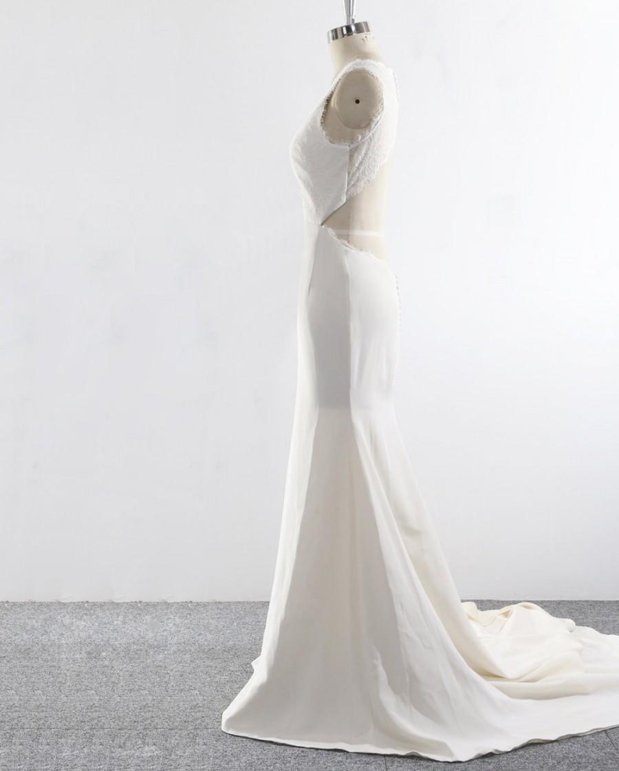 Silk Wedding Dress, Lace Bridal Dress, Trumpet Wedding Gown, Long ...