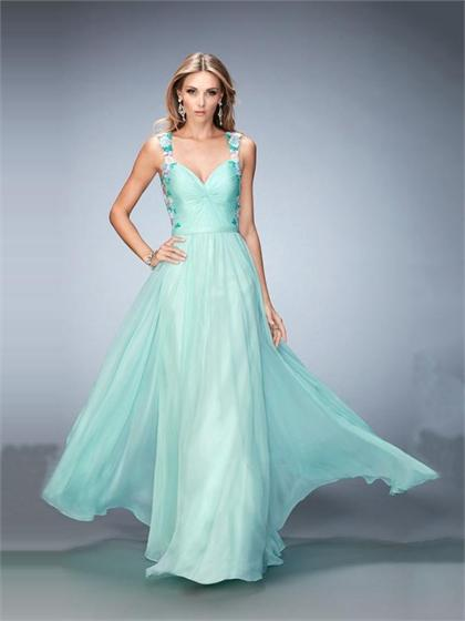 Wedding - Graceful A-line Sweetheart Open Back with Straps Chiffon Prom Dress PD3327