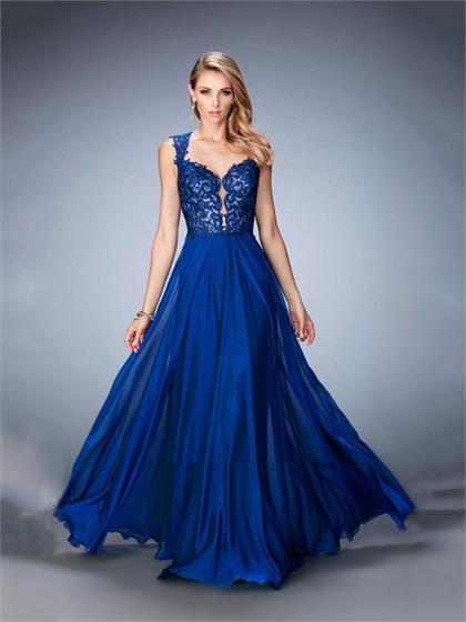 Mariage - A-line Plunging Sweetheart Stunning Keyhole Back Chiffon Prom Dress PD3326
