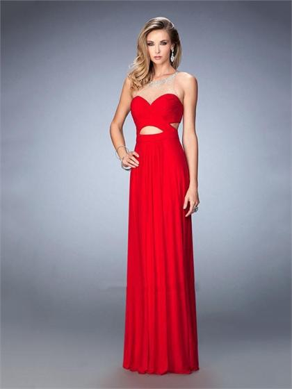 Mariage - Alluring with Side Cutouts Open Back Illusion Neckline Prom Dress PD3311