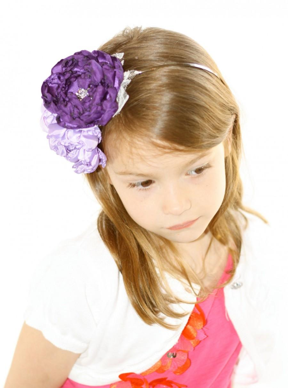 Mariage - Custom Purple Flower Headband - Flowergirl Headband - Purple Wedding - Ivory Flowergirl Headband - Customize your colors