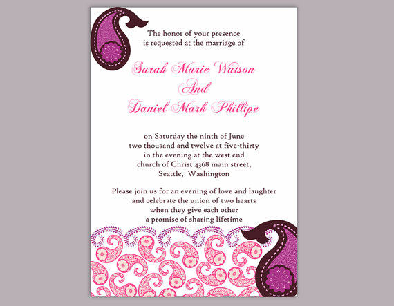 Свадьба - DIY Bollywood Wedding Invitation Template Editable Word File Download Printable Purple Eggplant Invitation Indian Invitation Bollywood party