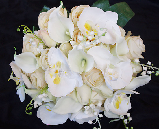 Bouquet Sposa Orchidee E Rose.Silk Wedding Bouquet With Champagne Roses Callas And Orchids