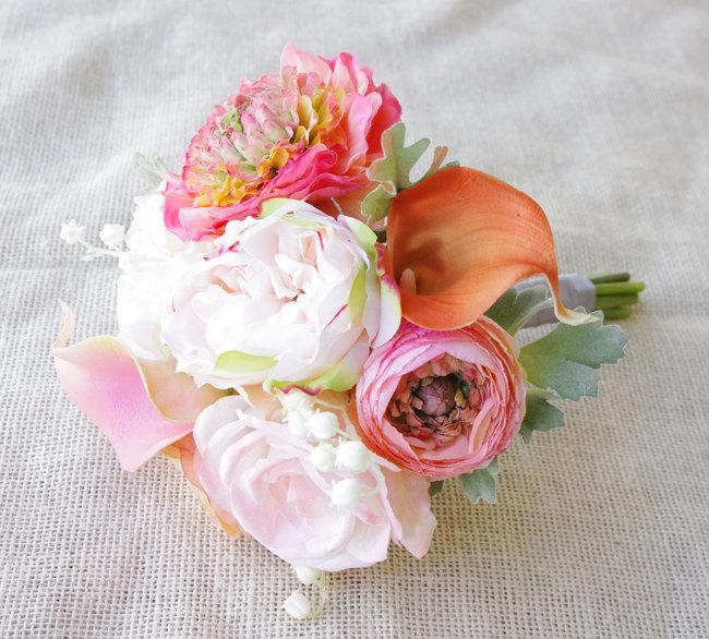 زفاف - Peach Bouquet of Silk Peonies and Ranunculus - Coral Peach Orange Natural Touch Flower Wedding Bride Bouquet - Almost Fresh
