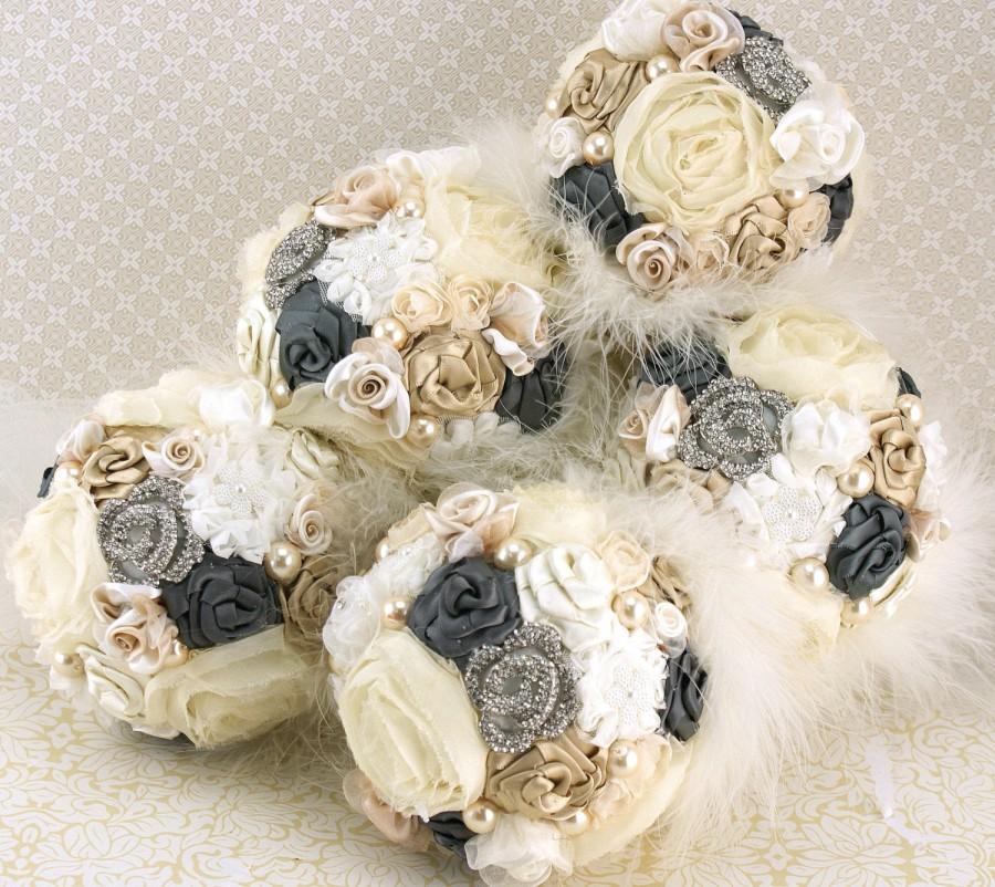 زفاف - Brooch Bouquets, Bridesmaids, Gray, Charcoal, Pewter, Tan, Beige, Champagne, Ivory,Maid of Honor,Elegant Wedding, Pearls, Feathers, Crystals
