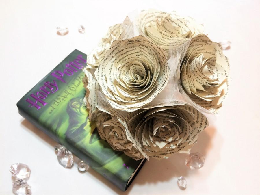Book Page Bouquet - Harry Potter Book Page Flower Bouquet - Paper ...