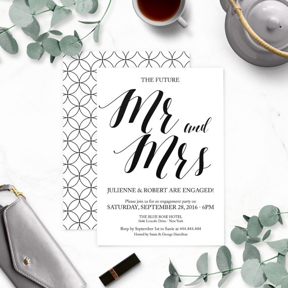 Wedding - Rustic Chic Mr. and Mrs. Engagement Party Invitations-Calligraphy Engagement Party Invites-Engagement Party Invitation Printable-DIY