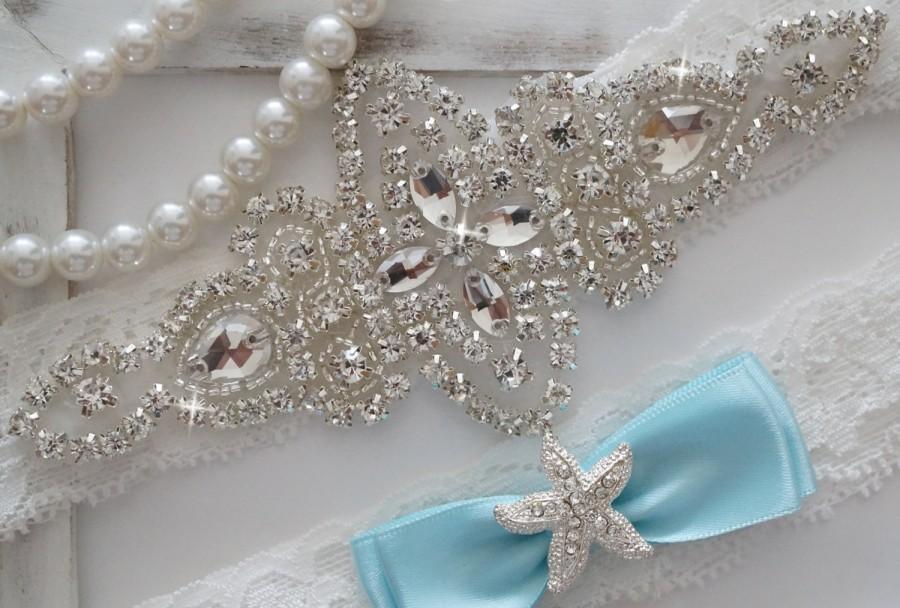 Wedding Garter Set Bridal Vintage Crystal Something Blue