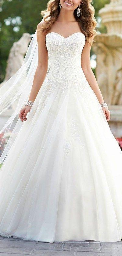 Mariage - 2016 Custom Lace Wedding Dress,Strapless Wedding Dress,Sexy Backless Wedding Dress,Cute Tulle Wedding Dress From LovePromDresses