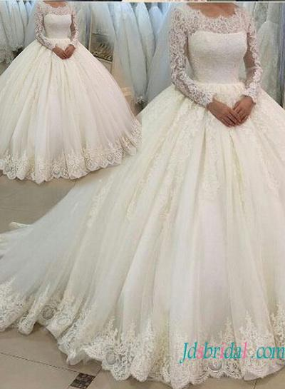 Wedding - Modest long sleeves lace ball gown wedding dress