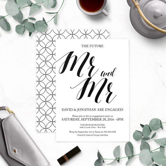 Hochzeit - Rustic Chic Gay Mr. and Mr. Engagement Party Invitations-Calligraphy Engagement Party Invites-Engagement Party Printable-DIY