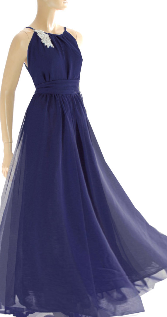 Plus Size Maxi Navy Blue / Chiffon Bridesmaid / Evening / Party ...