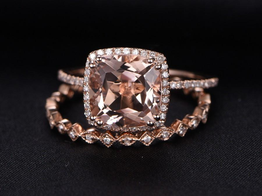 3ct Cushion Cut Morganite Engagement Ring Set2pcs Bridal Set14k Rose Gold Diamond Wedding RingMilgrain Matching Bandfull Eternity