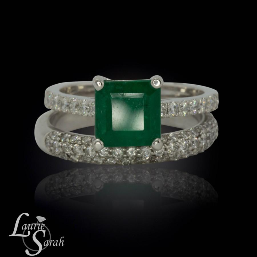 Wedding - Emerald Engagement Ring, Emerald Solitaire Wedding Set with Micropave Diamond Wedding Band - LS2437