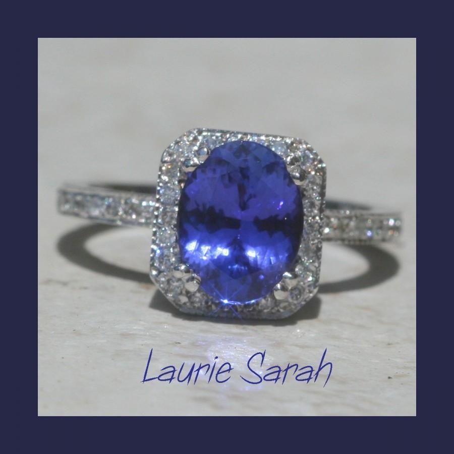 زفاف - Alternative Engagement Ring, Tanzanite and Diamond Ring - Oval with full Eternity Band and Double Prongs - LS514