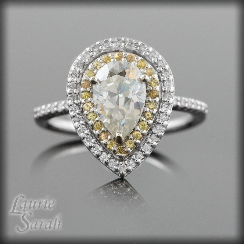 زفاف - Pear Engagement Ring, Teardrop Moissanite Engagement Ring with yellow sapphire and diamond double halo - LS1980