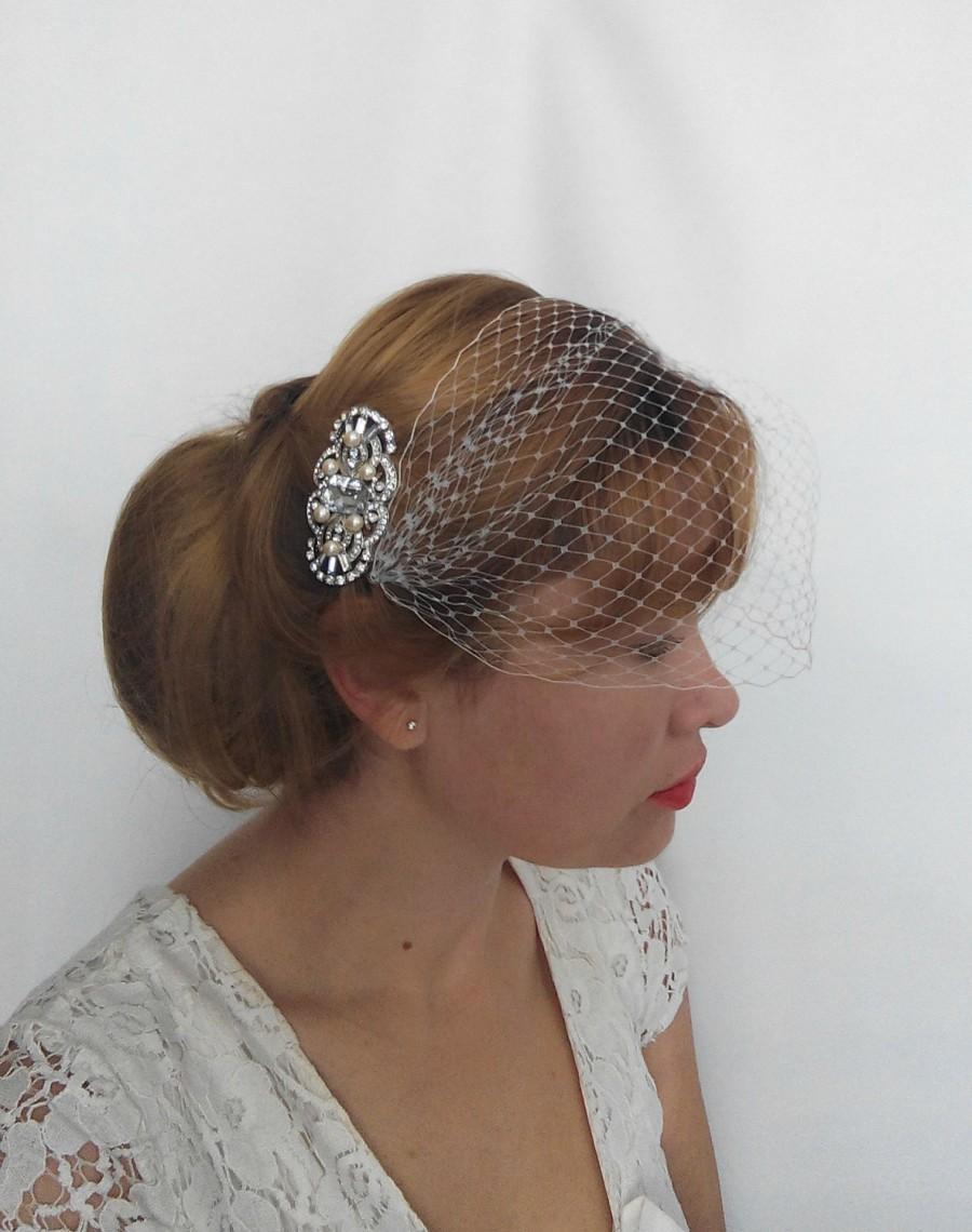 زفاف - Birdcage Veil, Ivory or White Silver Fascinator Wedding Veil, Bridal Veil and Bridal Comb, Bandeau Birdcage veil or Blusher Veil