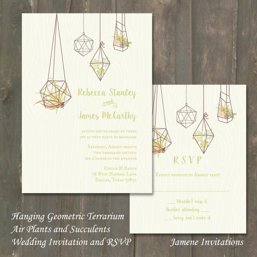 Wedding Invitation And RSVP   Hanging Geometric Terrarium With Air Plants  And Succulents   Printed   Digital Version Available
