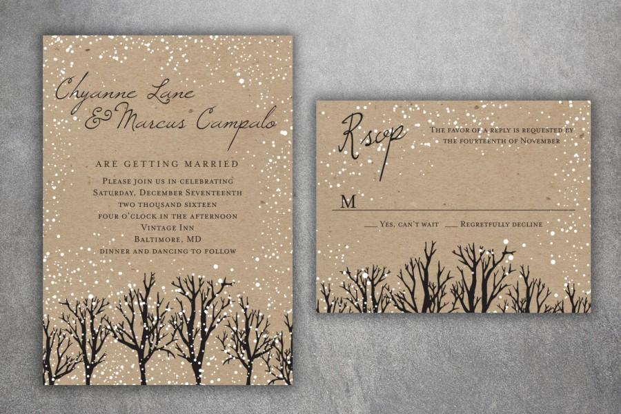 Winter Wedding Invitation Set Printed Snow Woodsy Rustic Tree