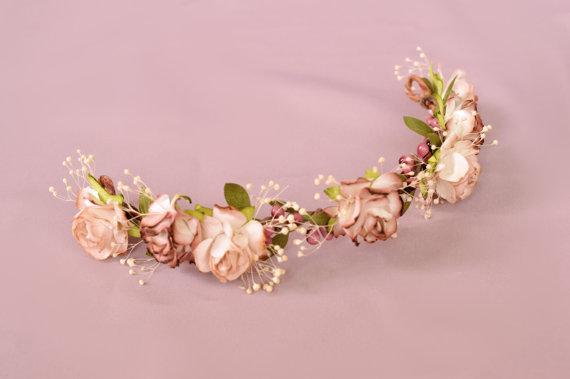 Свадьба - Half flower crown, Back flower hairpiece, Baby's breath hair crown, Bridal headpiece, Wedding hairpiece, Marsala flower crown, Floral crown