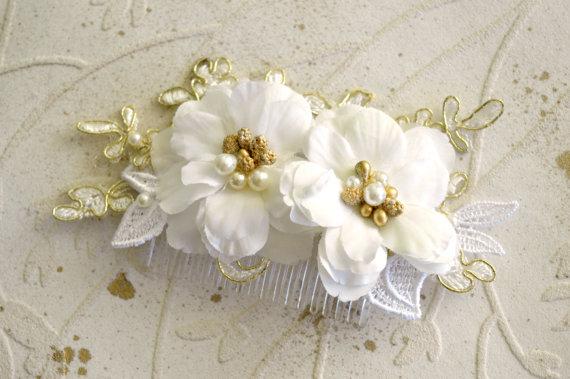 Wedding - Gold wedding comb, Gold bridal comb, Bridal headpiece, Wedding hair comb, Wedding hair piece, Lace hair comb, Flower hair comb, Gold lace