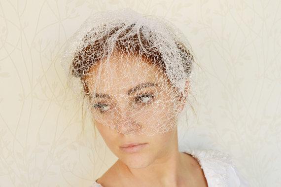Wedding - Bridal birdcage veil, Wedding birdcage veil, Luxury veil, White silver veil, Wedding veil, Wedding Hair Accessory, Short veil headpiece