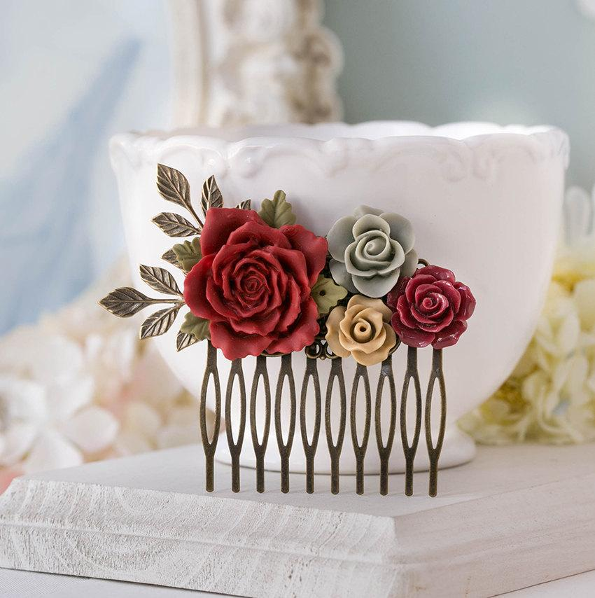 Hochzeit - Red Latte Brown Gray Hair Comb Red Wedding Hair Comb Floral Bridal Comb Bridesmaid Gift Antiqued Gold Leaf Rustic Vintage Hair Accessory