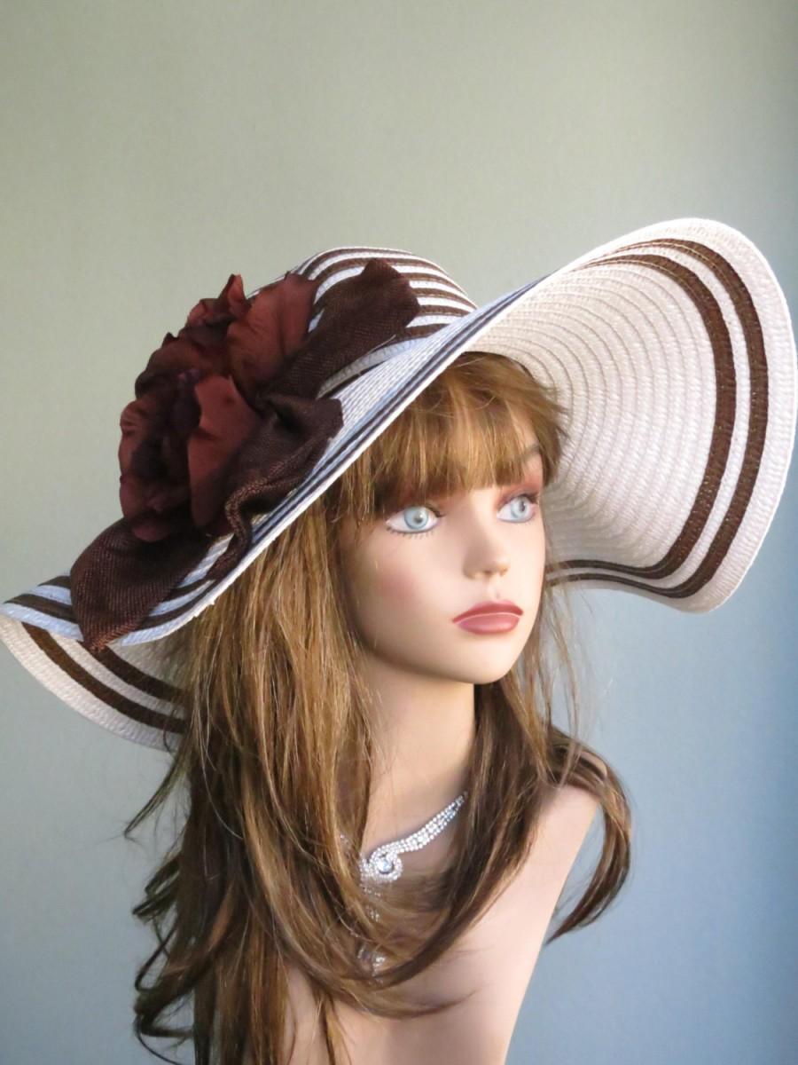Свадьба - White Brown Wedding Hat Kentucky Derby Hat Fascinator Wedding Accessory  Cocktail Hat Church Hat