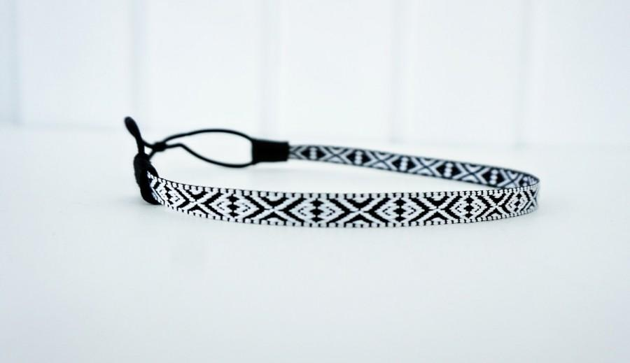Свадьба - Black and White Tribal Aztec Print Headband