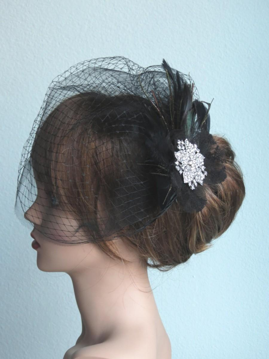 Свадьба - Black (Ivory) Wedding Head Piece Kentucky Derby Fascinator  Wedding Accessory Birdcage Vail