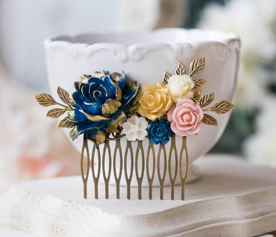 Mariage - Gold Navy Blue Pink Ivory Floral Bridal Hair Comb, Wedding Hair Comb, Antiqued gold leaf branch Comb, Country Barn Wedding Hairpiece