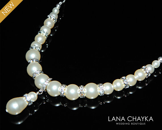 Свадьба - Bridal Pearl Necklace Ivory Pearl Wedding Necklace Swarovski Pearl Sterling Silver Necklace Bridal Pearl Jewelry Ivory Pearl Silver Necklace