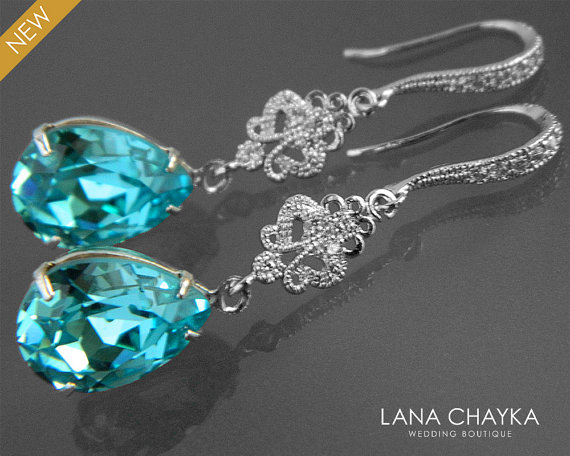 Light turquoise crystal earrings blue teal chandelier earrings light turquoise crystal earrings blue teal chandelier earrings swarovski teardrop rhinestone silver earrings bridal bridesmaids teal jewelry mozeypictures Image collections