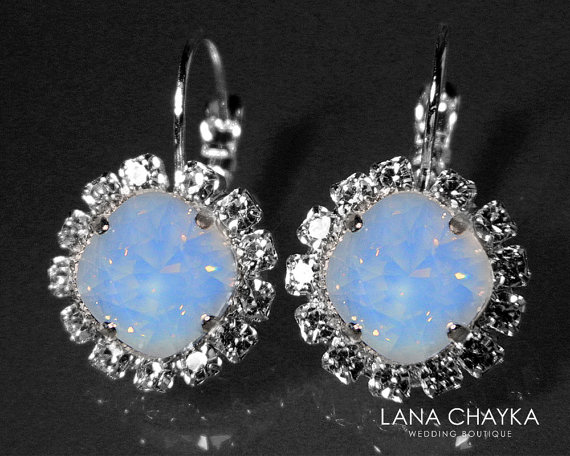 Свадьба - Air Blue Opal Halo Earrings Swarovski Blue Opal Silver Earrings Wedding Crystal Earrings Leverback Opal Earrings Bridal Bridesmaid Jewelry