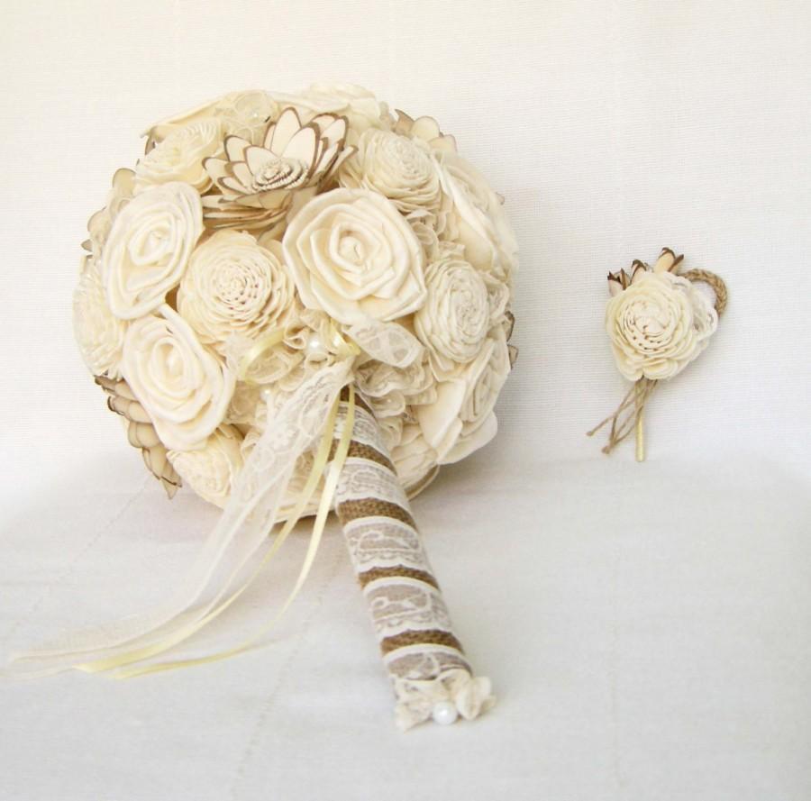 "Mariage - Bridal Bouquet ""Cream"", Wedding Cream  Fabric Bouquet, Sola flowers"