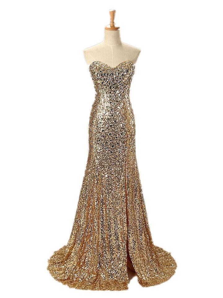 Свадьба - Handmade Sweetheart Crystal Long Mermaid Evening Dress Gold Sequin Prom Dresses 2016