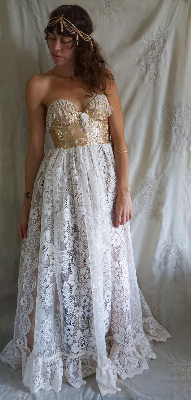 CYBER MONDAY SALE Jewel Bustier Gown Wedding Dress Formal Boho Bohemian Whimsical Woodland Gold Unique Prom Ball